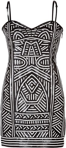 Emilio Pucci Patterned Leather Strapless Dress - Lyst