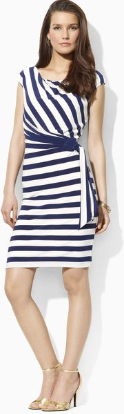 Ralph Lauren Lauren Dress Cowlneck Striped - Lyst