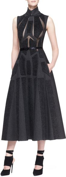 Donna Karan New York Sleeveless Artisan Applique Dress Charcoal Gray - Lyst