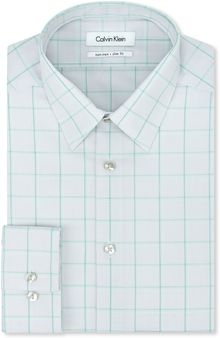 Calvin Klein Steel Grey and Mint Green Plaid Dress Shirt - Lyst