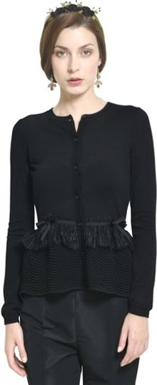 RED Valentino Wool Cardigan with Lace Peplum - Lyst