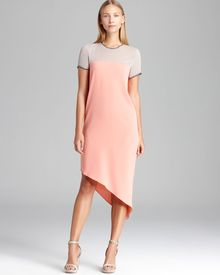 DKNY Color Block Short Sleeve Dress with Asymmetric Hem - Lyst
