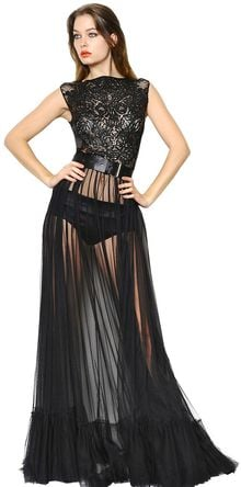 John Richmond Sequined Silk Organza Tulle Long Dress - Lyst
