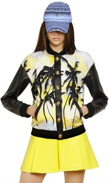 Fausto Puglisi Palm Printed Silk Twill Leather Jacket - Lyst