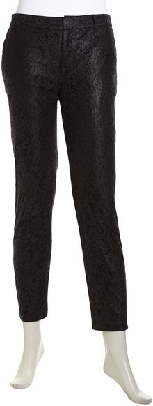 Catherine Malandrino Christy Floral Lace Tapered Trousers Noir - Lyst