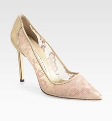 Manolo Blahnik Bb Lace Satin Pumps - Lyst