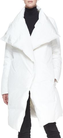 Donna Karan New York Down Puffer Clutch Coat White - Lyst