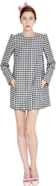 RED Valentino Jacquard Checked Long Jacket - Lyst