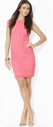 Ralph Lauren Lauren Dress Boat Neck Lace - Lyst