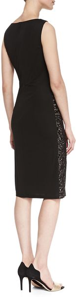 David Meister Sleeveless Lace Waist Cocktail Dress Black - Lyst