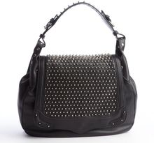 Rebecca Minkoff Black Studded Leather Moonstruck Saddle Bag - Lyst