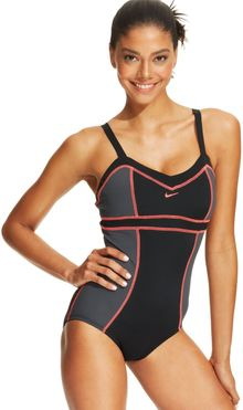 Nike Colorblock Criss Cross One Piece Swimsuit - Lyst