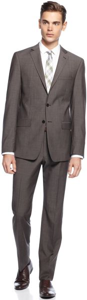 Calvin Klein Brown Neat Slim X Fit Suit - Lyst
