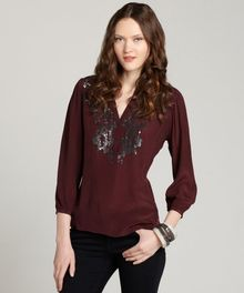 Love Sam Aubergine Pewter Sheer Vneck Sequin Blouse - Lyst