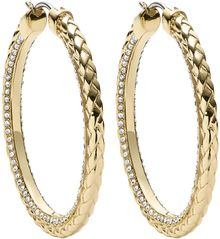 Michael Kors Crystallized Goldtone Braided Hoop Earrings - Lyst
