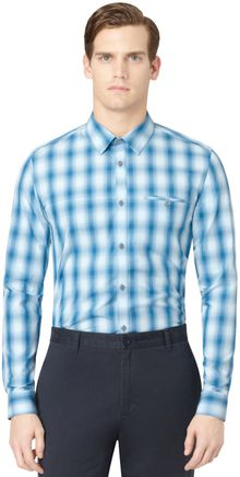 Calvin Klein Ombre Grid Plaid Shirt - Lyst