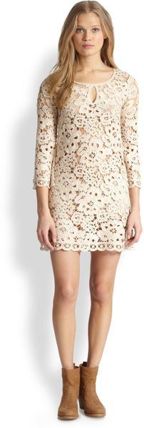 BCBGMAXAZRIA Crocheted Lace Dress - Lyst