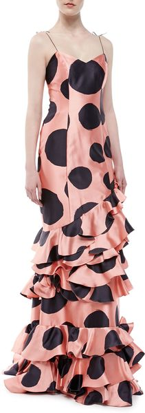 Carolina Herrera Ruffled Polk Dot Silk Gown - Lyst