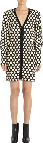 Emanuel Ungaro Polka Dot Long Sleeve Vneck Dress - Lyst