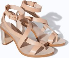 Zara Shiny Leather High Heel Sandal - Lyst