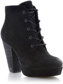 Steve Madden Raspy Leather Almond Toe Block Heel Boots - Lyst