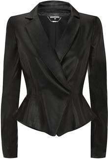 Alexander McQueen Leather Peplum Jacket - Lyst