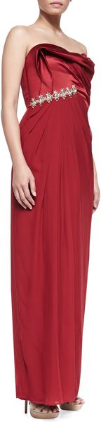 Notte By Marchesa Strapless Beadedwaist Draped Gown Crimson - Lyst