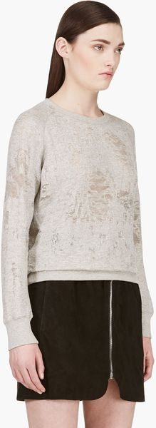 Iro Grey Shredded Sweater - Lyst