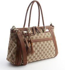 Gucci Beige and Chestnut Brown Leather Trimmed Ssima Canvas Zipper Detail Convertible Shoulder Bag - Lyst
