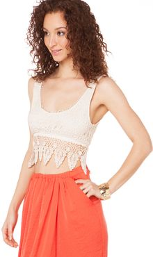 Akira All Lace Micro Crop Tank in Natural - Lyst