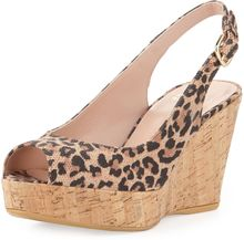 Stuart Weitzman Jean Leopardprint Suede Cork Wedge Made To Order - Lyst
