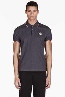 Moncler Charcoal Cotton Piqu Polo - Lyst