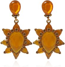 Oscar de la Renta Orange Resin Clipon Earrings - Lyst