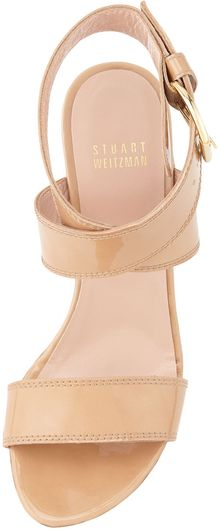 Stuart Weitzman Xray Aniline Cork Wedge Adobe Made To Order - Lyst