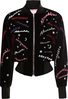 Olympia Le-Tan Bongo Embroidered Velvet Bomber Jacket - Lyst
