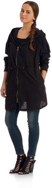 Free People Eyelet Jacket with Hood - Lyst