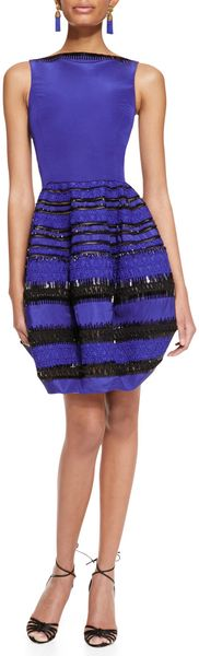Oscar de la Renta Sleeveless Beaded Bubbleskirt Dress Royal - Lyst