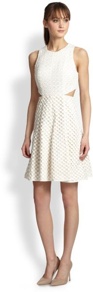 Tibi Perforated Cutout Dress - Lyst