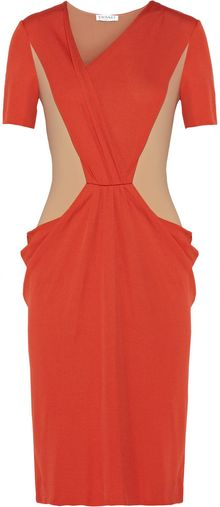 Vionnet Draped Colorblock Crepe Dress - Lyst