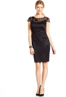 Eliza J Capsleeve Illusion Lace Dress - Lyst