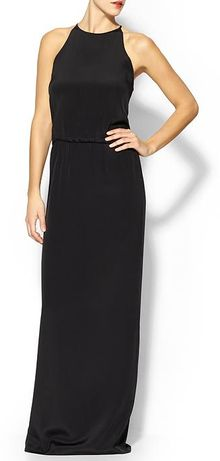 Tibi Long Silk Halter Dress - Lyst
