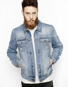 Asos Denim Jacket with Detroit Print - Lyst