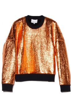 3.1 Phillip Lim Copper Cropped Sweatshirt in Brown (copper) - Lyst