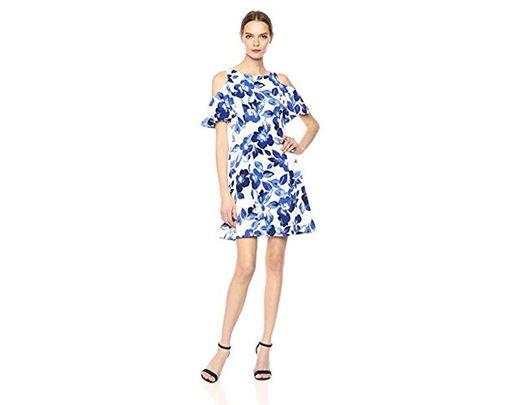 836f0614c64ee Eliza J Floral Cold Shoulder Fit And Flare Dress in Blue - Lyst
