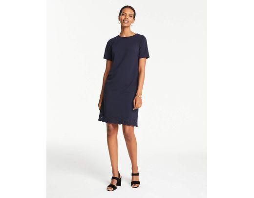 752baf3b4956b Ann Taylor Tall Eyelet Hem T-shirt Dress in Blue - Lyst