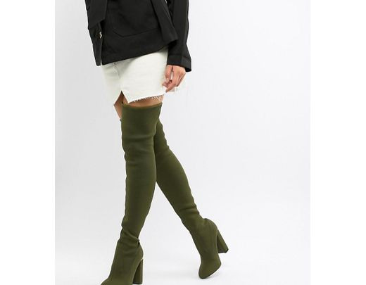 96c1fb99c7bc ASOS Koko Knitted Thigh High Boots in Green - Lyst