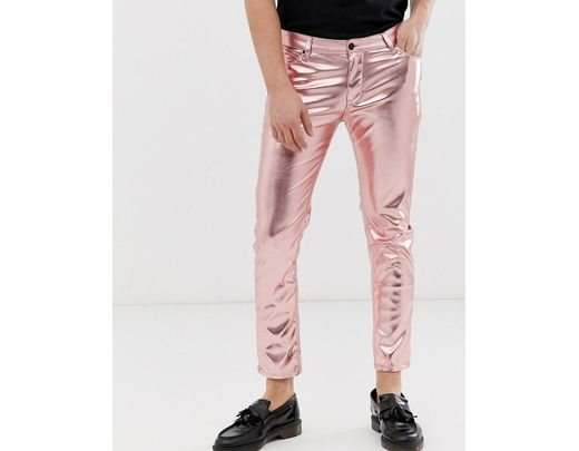 6f8ca4f8cd0789 ASOS Skinny Coated Leather Look Jeans In Metallic Pink in Pink for Men -  Lyst