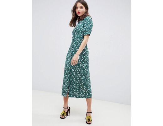 b98fab4129 Lyst - ASOS Button Through Maxi Tea Dress In Ditsy Floral in Green