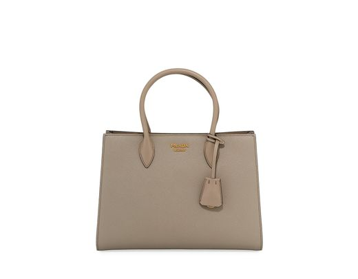 5eec0cac0416 Lyst - Prada Large Bicolor Saffiano Side-pleat Tote Bag in Brown - Save 5%