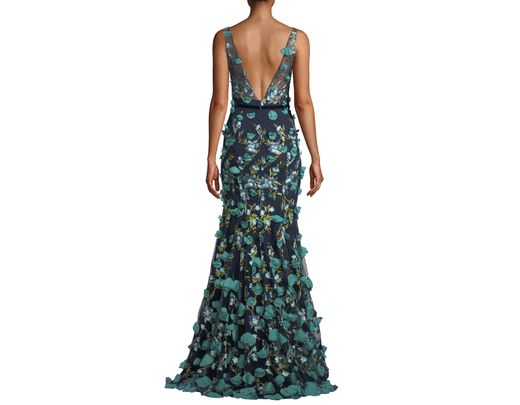 22bcd9a3 Marchesa notte Plunging-illusion 3d Flower Trumpet Gown in Blue - Lyst